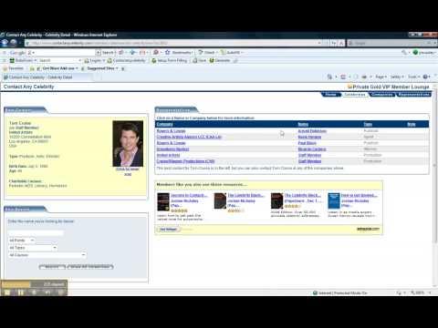 Contact Any Celebrity .com Video Demo