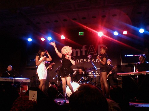 Cyndi Lauper, Kelly Rowland & Estelle at amfAR Inspiration Gala