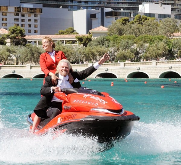 Sir Richard Branson Promotes Virgin Airlines in the Fountains at the Bellagio