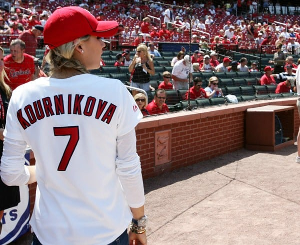 Anna Kournakova Throws The First Pitch At The Los Angles Dodger Vs St. Louis Cardinals Game