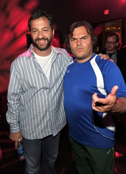 """Director Judd Apatow and actor Jack Black attend the """"Scott Pilgrim Vs. The World"""" after-party at Grauman's Chinese Theatre on July 27, 2010 in Hollywood, California."""