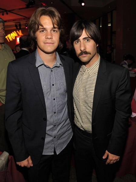 """Actors Johnny Simmons and Jason Schwartzman attend the """"Scott Pilgrim Vs. The World"""" after-party at Grauman's Chinese Theatre on July 27, 2010 in Hollywood, California."""