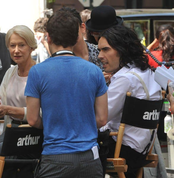 Russell Brand, Helen Mirren and director Jason Winer on location for 'Arthur' in New York city