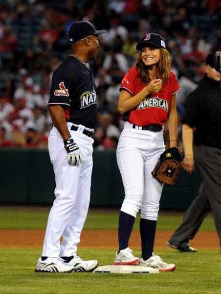 Ozzie Smith and Maria Menounos at the Taco Bell All-Star Legends & Celebrity Softball Game