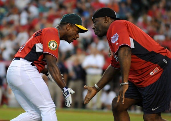 Ricky Henderson and Michael Clarke Duncan at the Taco Bell All-Star Legends & Celebrity Softball Game