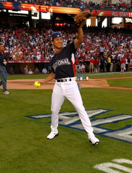 Mario Lopez at the Taco Bell All-Star Legends & Celebrity Softball Game