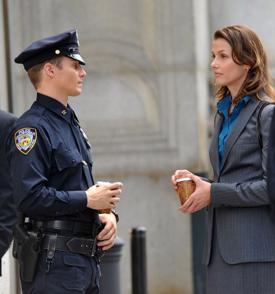 Bridget Moynahan on location for 'Blue Bloods' on the streets of Manhattan on July 28, 2010 in New York City.