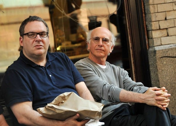 "Jeff Garlin and Larry David on location for ""Curb Your Enthusiasm"" on the streets of Manhattan on July 27, 2010 in New York City."