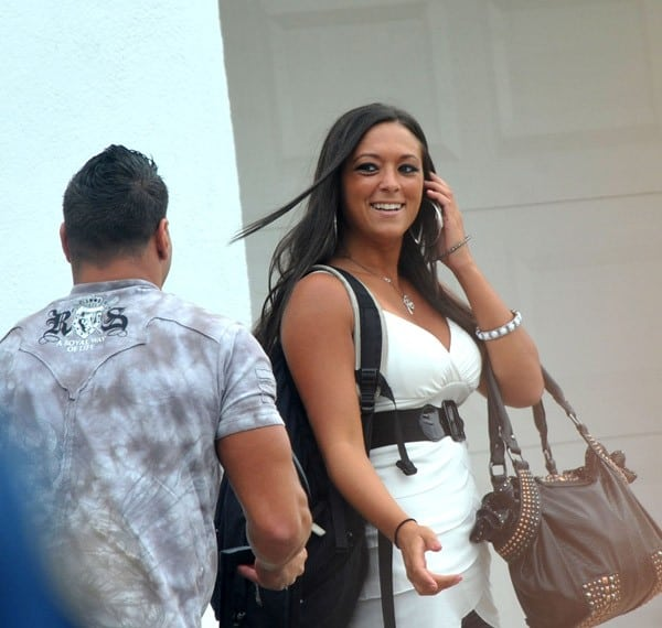 "Ronnie Ortiz-Magro and Sammi ""Sweetheart"" Giancola on location for ""Jersey Shore"" Season 3 on July 23, 2010 in Seaside Heights, New Jersey."