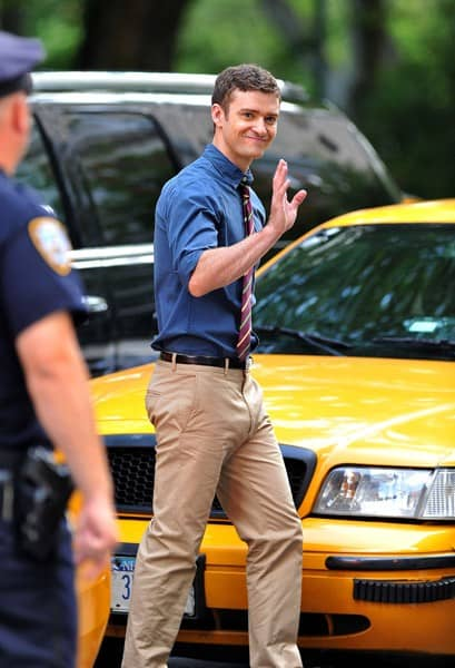 "Justin Timberlake on location for ""Friends With Benefits"" on 5th Avenue on July 20, 2010 in New York City."