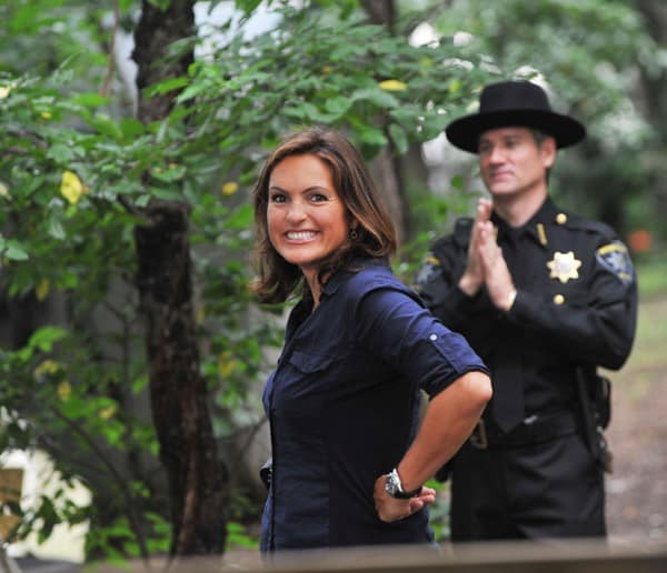 1-Mariska Hargitay during first day filming on location for 'Law & Order: SVU' 12th season on the streets of Manhattan on July 15, 2010 in New York City.