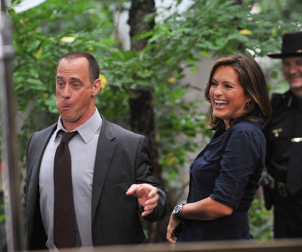 Mariska Hargitay and Christopher Meloni during first day filming on location for 'Law & Order: SVU' 12th season on the streets of Manhattan on July 15, 2010 in New York City.