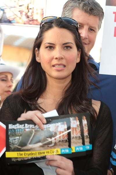 Olivia Munn and PETA Confront Circusgoers with Evidence of Baby Elephant Abuse