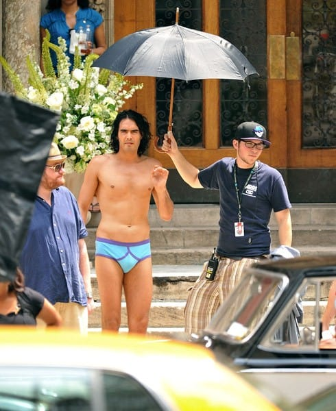 Russell Brand filming on location for 'Arthur' on the streets of Manhattan on July 28, 2010 in New York City.
