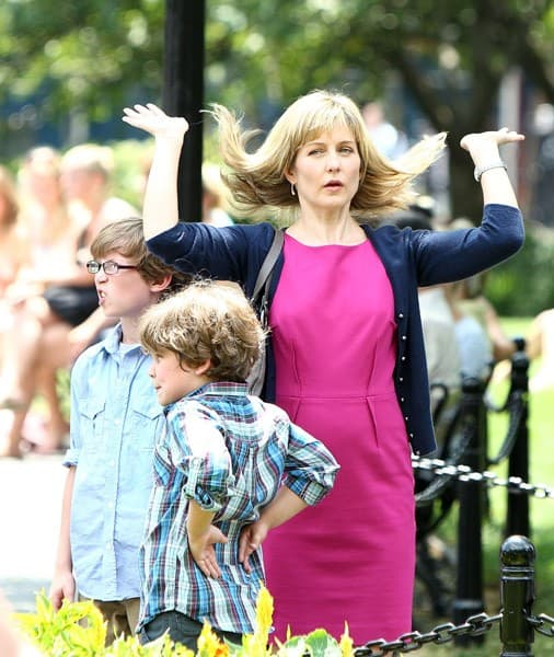 """Actress Amy Carlson filming on location for """"Blue Bloods"""" on the Streets of Manhattan on August 5, 2010 in New York City."""