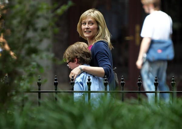 Actress Amy Carlson filming on location for 'Blue Bloods' on the Streets of Manhattan on August 5, 2010 in New York City.