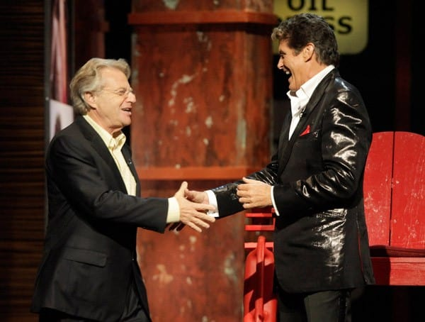 Jerry Springer and David Hasselhoff on stage at the Comedy Central's Roast of David Hasselhoff held at Sony Pictures Studios on August 1, 2010 in Culver City, California.