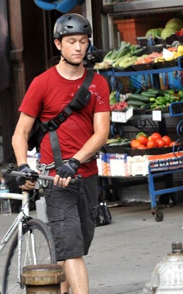 """Joseph Gordon-Levitt on location for """"Premium Rush"""" on the streets of Manhattan on August 4, 2010 in New York City."""