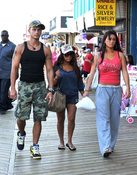 "Paul DelVecchio, Nicole ""Snooki"" Polizzi and Jenni ""JWoww"" Farley filming on location for ""Jersey Shore"" at Seaside Heights on August 3, 2010 in Seaside Heights, New Jersey."