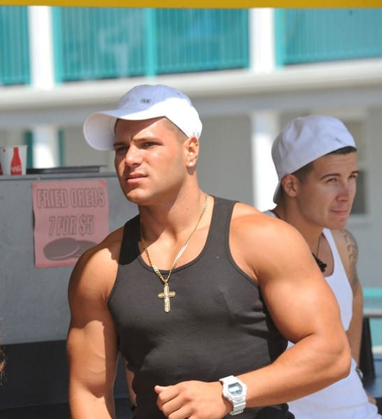 "Ronnie Ortiz-Magro filming on location for ""Jersey Shore"" at Seaside Heights on August 3, 2010 in Seaside Heights, New Jersey."