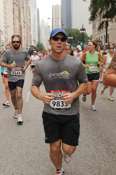 """""""The Bachelor"""" Jake Pavelka participates in the Rock 'n' Roll Half Marathon on August 1, 2010 in Chicago, Illinois."""