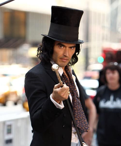 "Actor Russell Brand filming on location for ""Arthur"" on the streets of Manhattan on August 2, 2010 in New York City."