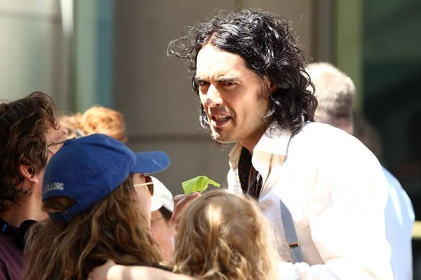 Actor Russell Brand filming on location for 'Arthur' on the streets of Manhattan on August 2, 2010 in New York City.