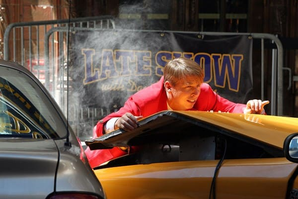 Actor Jack McBrayer on location for '30 Rock' on the streets of Manhattan on August 27, 2010 in New York City.