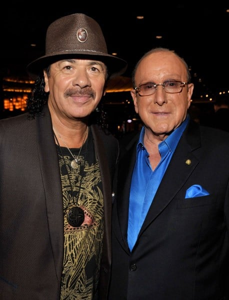 Musician Carlos Santana and CEO of Sony Music Entertainment Worldwide Clive Davis attend the Clive Davis and Carlos Santana exclusive VIP listening event at the Hard Rock Hotel and Casino on August 25, 2010 in Las Vegas, Nevada.