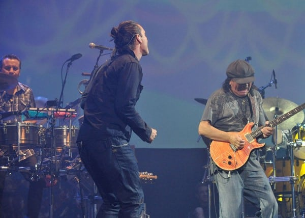 Musicians Carlos Santana and Gavin Rossdale perform at The Joint on August 25, 2010 in Las Vegas, Nevada