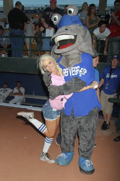Holly Madison Attends the Las Vegas 51s Minor League Baseball Game at Cashman Field on August 24, 2010 in Las Vegas, Nevada.