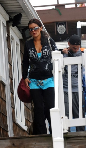Jenni 'JWoww' Farley filming on location for 'Jersey Shore' on August 18, 2010 in Seaside Heights, New Jersey.