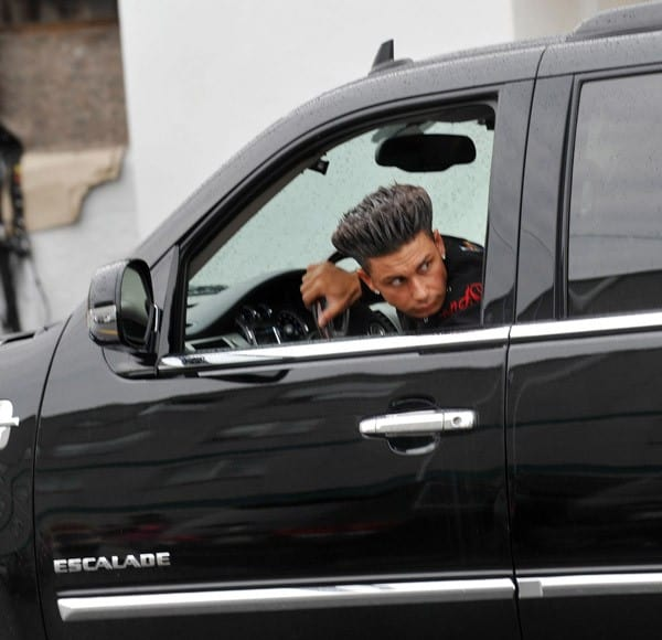 "Paul ""DJ Pauly D"" DelVecchio filming on location for ""Jersey Shore"" on August 18, 2010 in Seaside Heights, New Jersey."