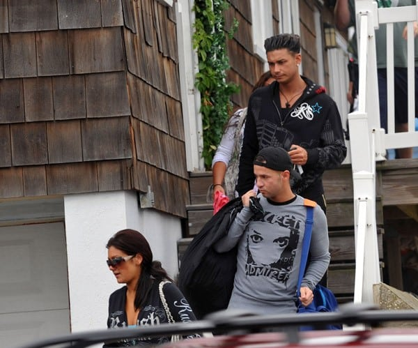 "Jenni "" JWoww"" Farley, Michael ""The Situation"" Sorrentino and Paul ""DJ Pauly D"" DelVecchio filming on location for ""Jersey Shore"" on August 18, 2010 in Seaside Heights, New Jersey."