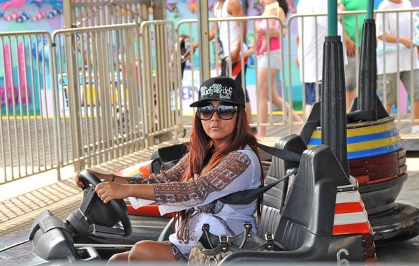 Nicole 'Snooki' Polizzi filming on location for 'Jersey Shore' at Seaside Heights on August 8, 2010 in Seaside Heights, New Jersey.