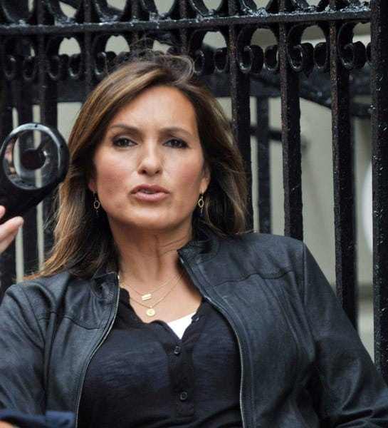 Mariska Hargitay filming on location for 'Law & Order: SVU' on the streets of Manhattan on August 10, 2010 in New York City.