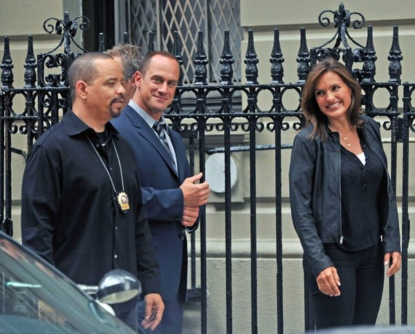 "Ice-T, Christopher Meloni and Mariska Hargitay filming on location for ""Law & Order: SVU"" on the streets of Manhattan on August 10, 2010 in New York City."