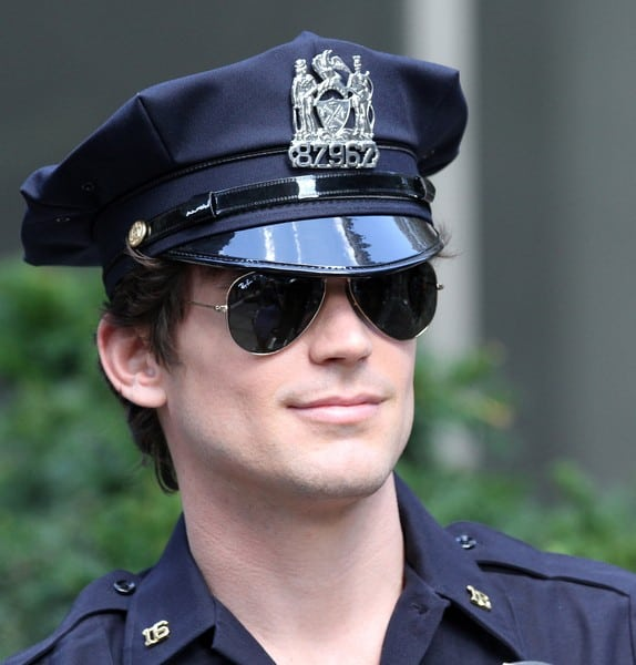 Matthew Bomer filming on location for 'White Collar' at Madison Square Park in New York City on August 26, 2010
