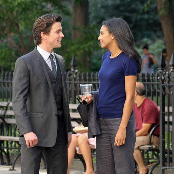 Matthew Bomer and Marsha Thomason During 'White Collar' Filming at Madison Square Park in New York City on August 17, 2010