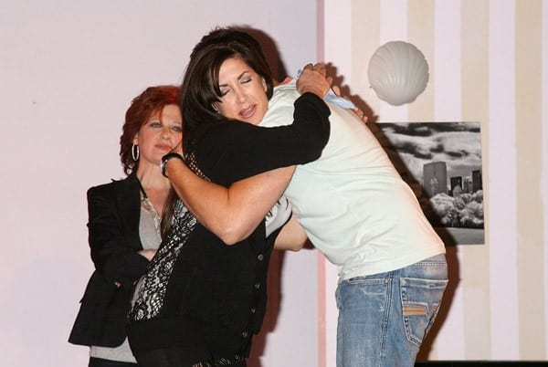 Caroline Manzo and Jacqueline Laurita attend rehersals for 'My Big Gay Italian Wedding' at St. Luke's Theater on August 26, 2010 in New York City.