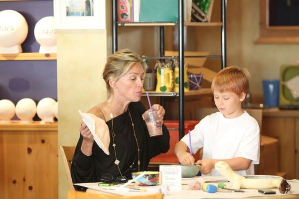 Sharon Stone Paints A Turtle At Color Me Mine in Beverly Hills, California With Her Son Roan Joseph Bronstein - August 17, 2010