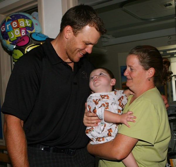 Shawn Thornton visits patients at Children's Hospital Boston on August 19, 2010 in Boston, Massachusetts.