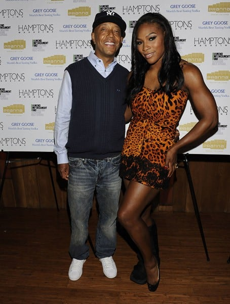 Serena Williams and Russell Simmons attend Hamptons Magazine Cover Party with GREY GOOSE at Pranna Restaurant on August 25, 2010 in New York, New York.