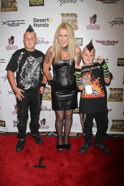 Lita Ford and Her Sons Attend the Vegas Rocks! Magazine Awards at the Las Vegas Hilton in Las Vegas, Nevada on August 22, 2010.