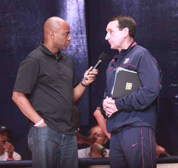 Entertainment Tonight's Kevin Frazier and Duke basketball coach Mike Krzyzewski speak at the 2010 World Basketball Festival Tip Off at Radio City Music Hall on August 12, 2010 in New York City.