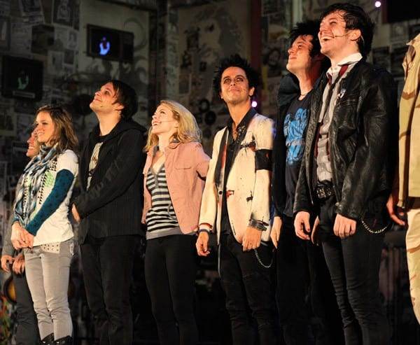 Billie Joe Armstrong performs with the cast of 'American Idiot' at the St. James Theater on September 28, 2010 in New York City.