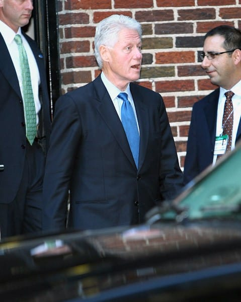 President Bill Clinton visits 'Late Show With David Letterman' at the Ed Sullivan Theater on September 20, 2010 in New York, City.