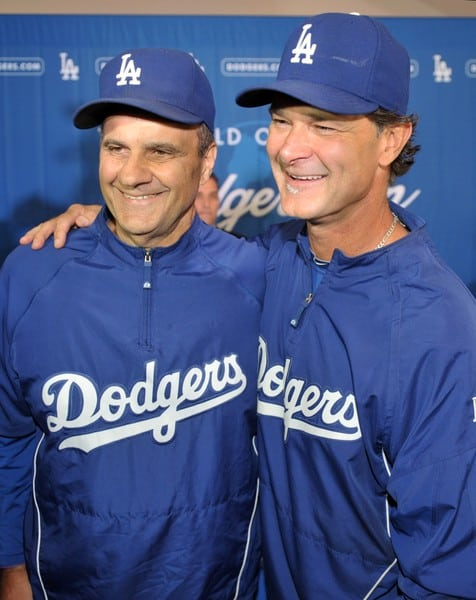 Don Mattingly and Joe Torre as Don Mattingly is Announced as 2011 Dodgers Manager at a Press Conference Held in Dodgers Stadium in Los Angeles, California on September 17, 2010.