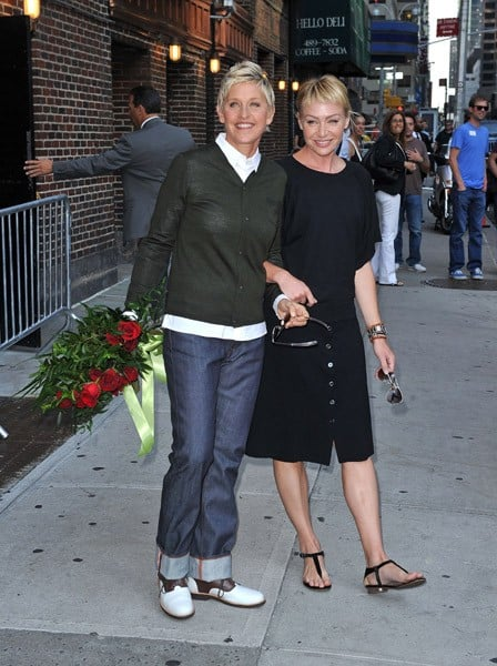 Ellen Degeneres and Portia De Rossi visit 'Late Show with David Letterman' at the Ed Sullivan Theater on September 7, 2010 in New York City.