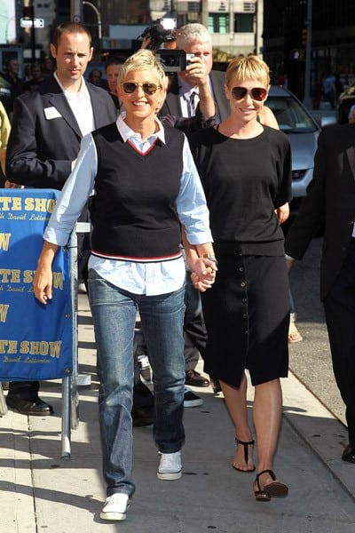 3 ellen degeneres and portia de rossi visit 39 late show with david letterman 39 at the ed sullivan - Ellen show new york ...